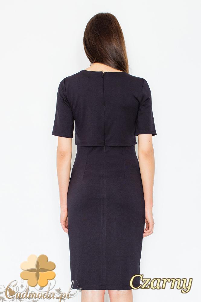 CM2356 Sukienka z ozdobnym łańcuszkiem na dekolcie - czarna