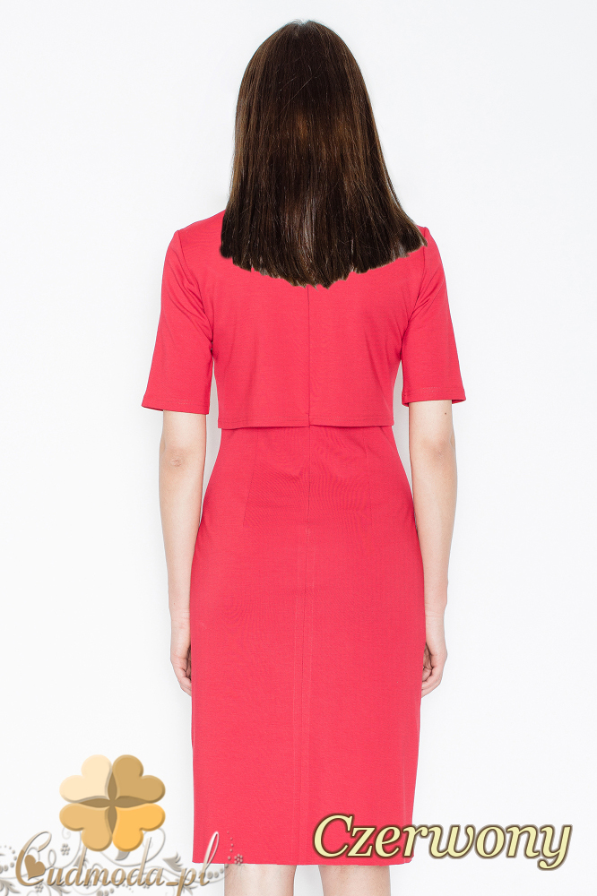 CM2356 Sukienka z ozdobnym łańcuszkiem na dekolcie - czerwona
