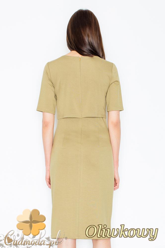 CM2356 Sukienka z ozdobnym łańcuszkiem na dekolcie - oliwkowa
