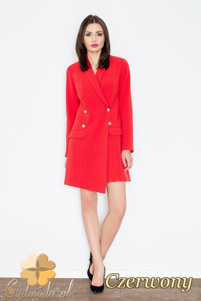 CM2357 Sukienka w stylu długiego żakietu - czerwona