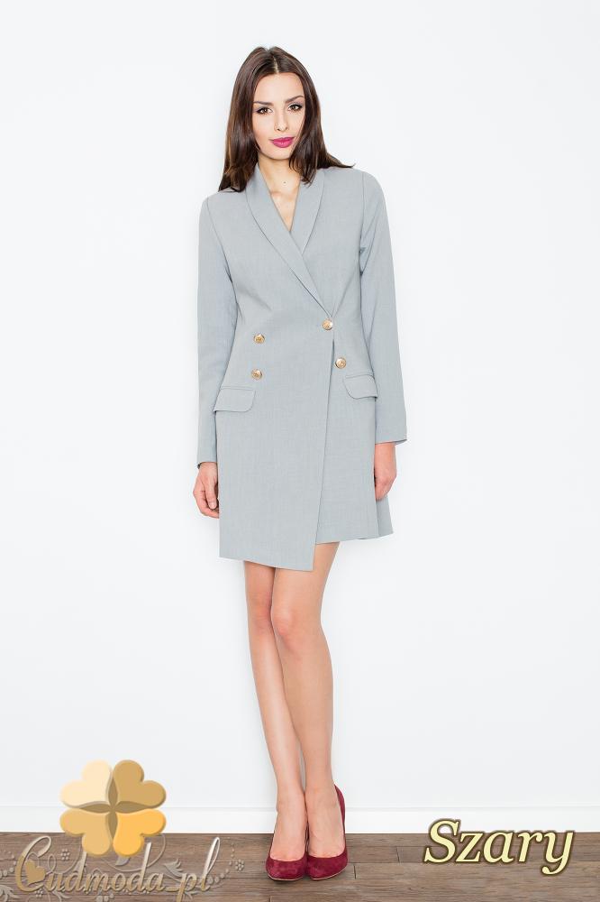 CM2357 Sukienka w stylu długiego żakietu - szara