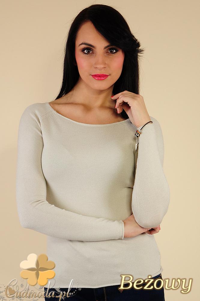 CM0186 Gładki sweterek damski w pastelowych kolorach - beżowy