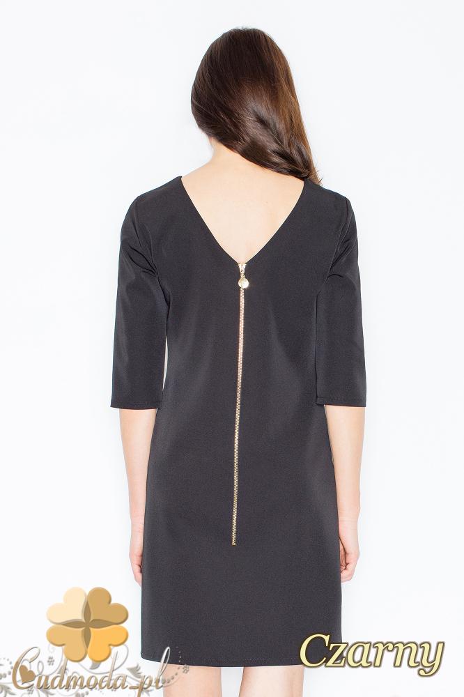 CM2359 Sukienka z dużym dekoltem na plecach i ozdobnym zamkiem - czarna