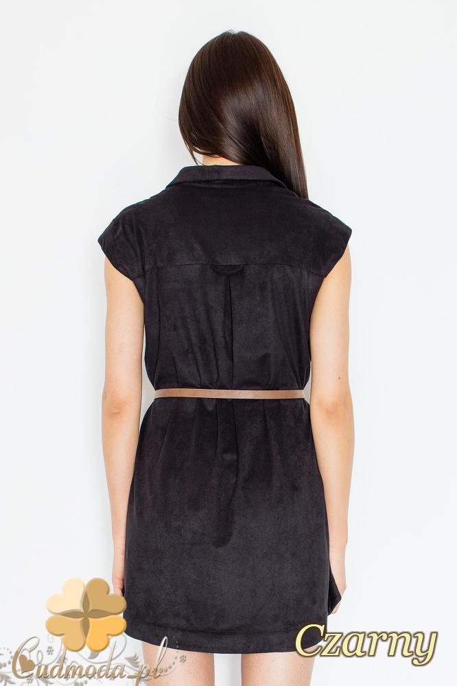 CM2360 Sukienka z kołnierzykiem zapinana na napy - czarna
