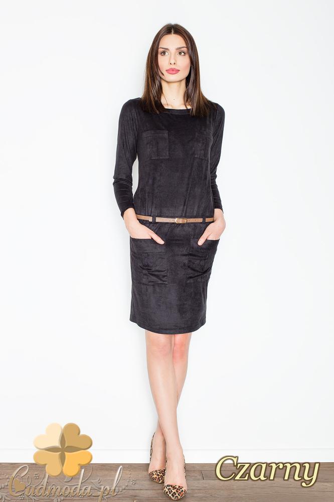 CM2361 Zamszowa sukienka z dekoltem typu łódka - czarna