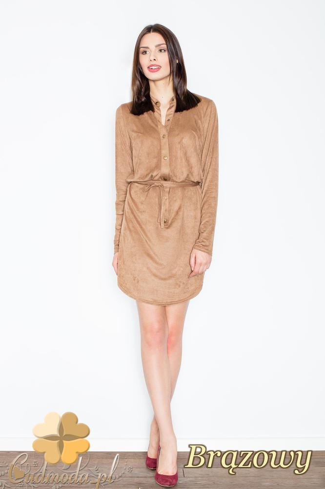 CM2363 Zamszowa sukienka z napami wiązana w pasie - brązowa