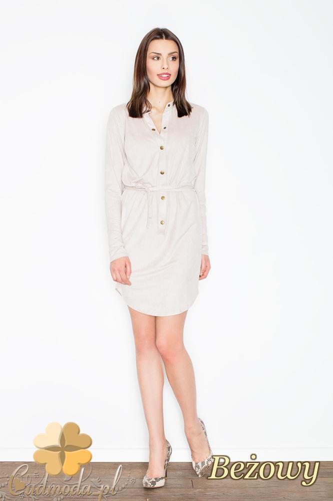 CM2363 Zamszowa sukienka z napami wiązana w pasie - beżowa