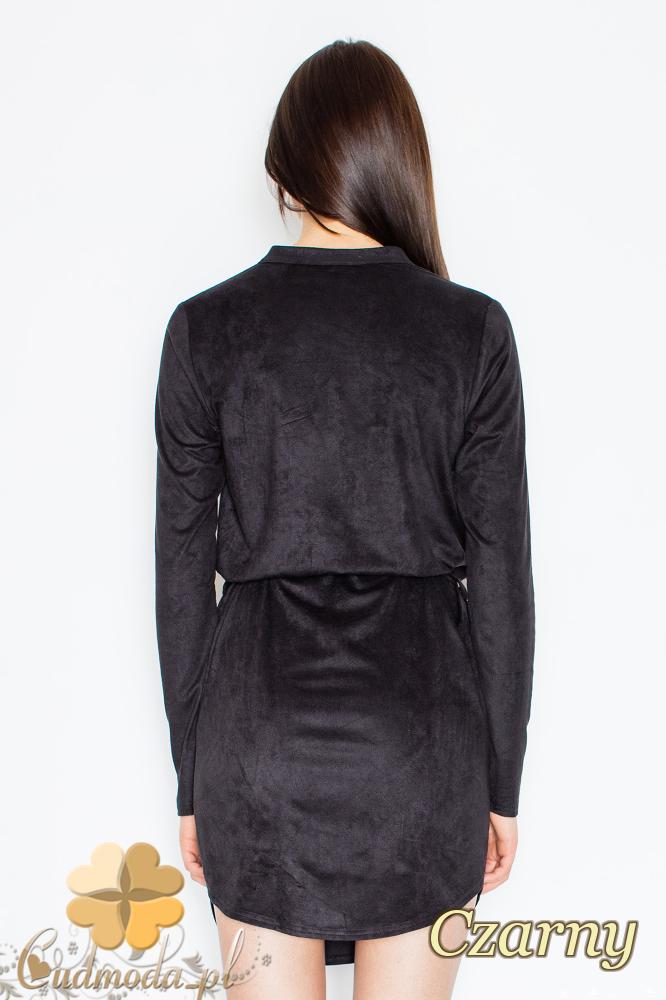 CM2363 Zamszowa sukienka z napami wiązana w pasie - czarna