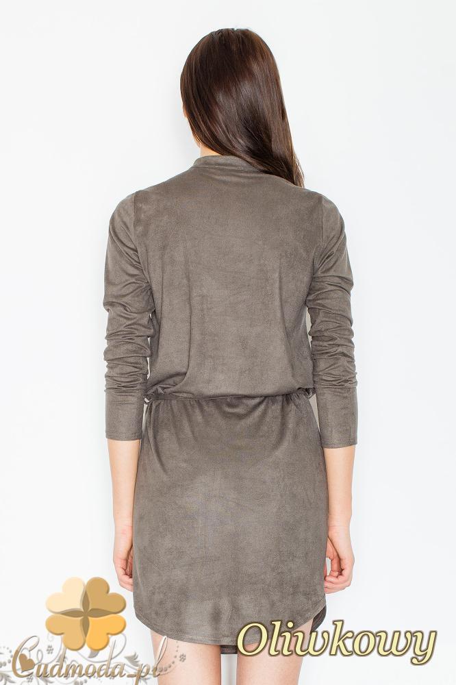 CM2363 Zamszowa sukienka z napami wiązana w pasie - oliwkowa
