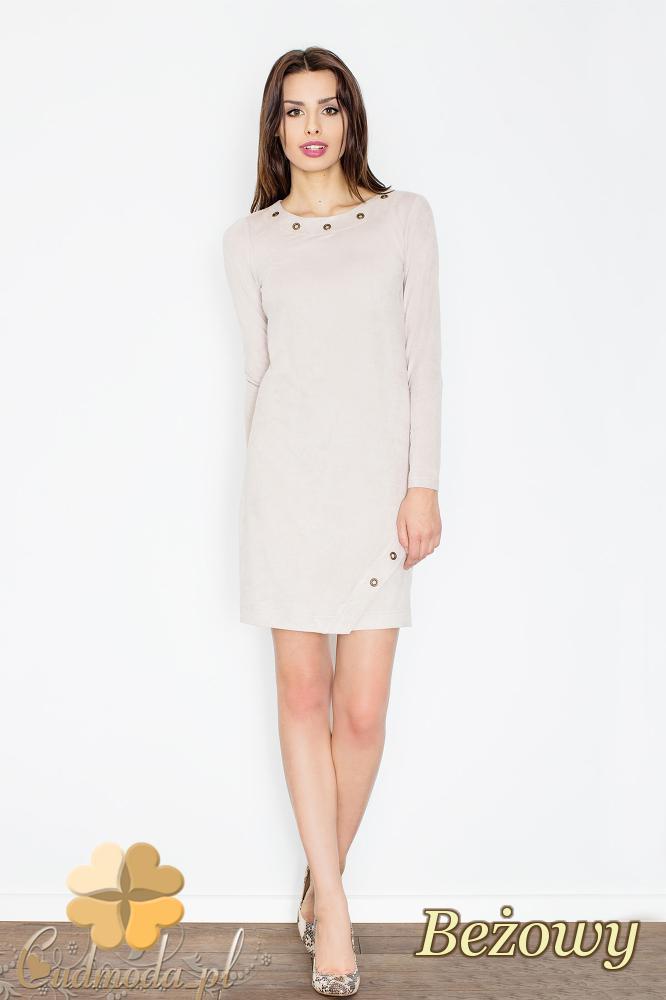 CM2364 Elegancka sukienka mini z zamszu - beżowa