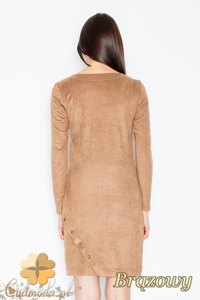 CM2364 Elegancka sukienka mini z zamszu - brązowa