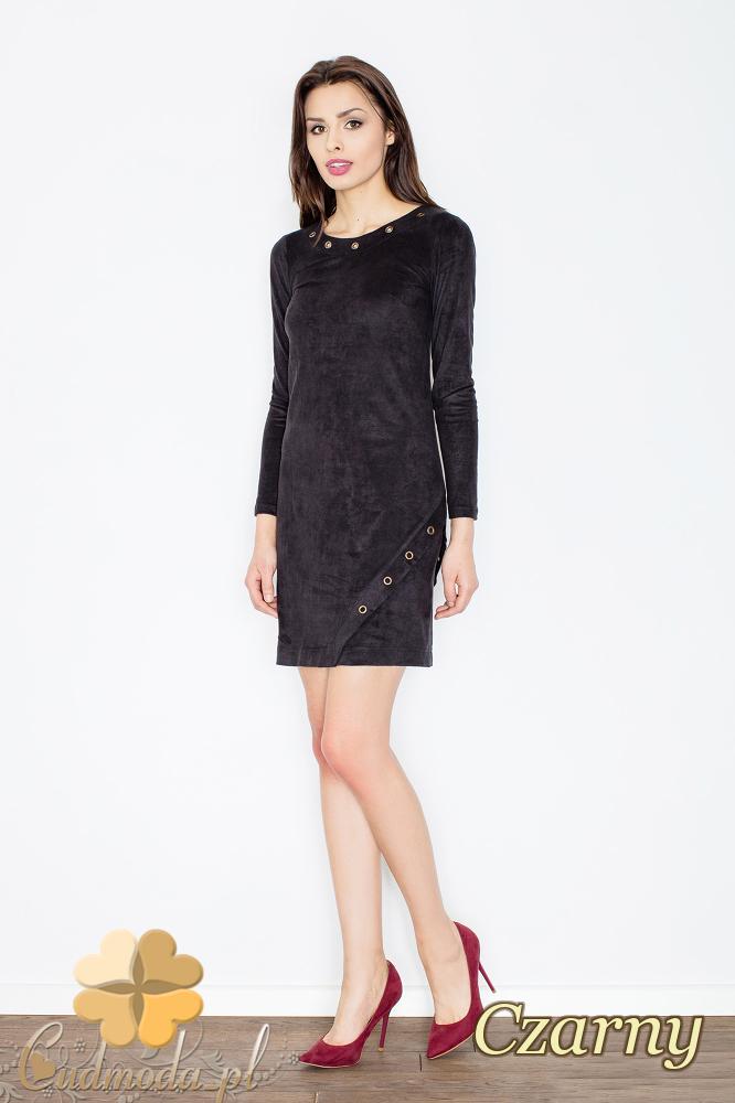 CM2364 Elegancka sukienka mini z zamszu - czarna