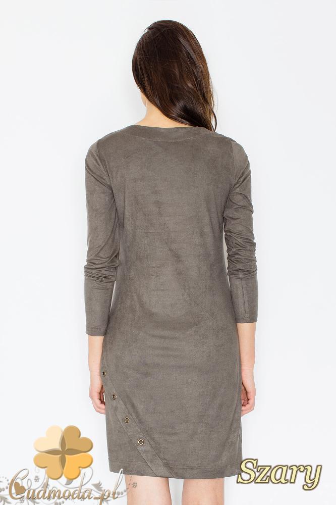 CM2364 Elegancka sukienka mini z zamszu - szara