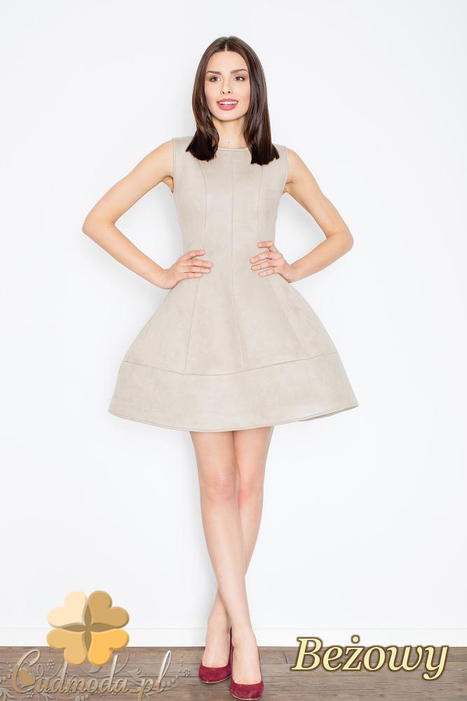 CM2366 Rozkloszowana sukienka z zamszu - beżowa