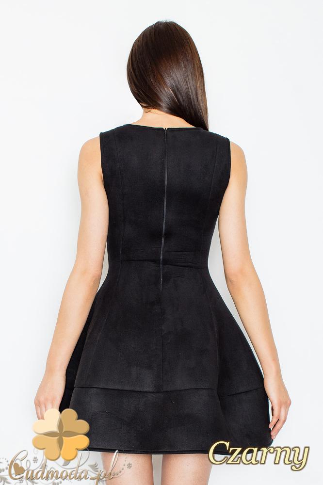 CM2366 Rozkloszowana sukienka z zamszu - czarna