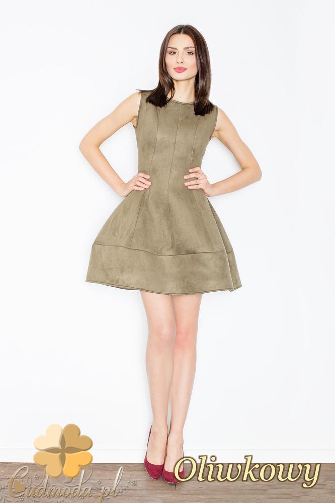 CM2366 Rozkloszowana sukienka z zamszu - oliwkowa