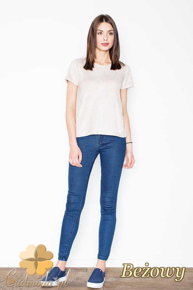 CM2367 Stylowa zamszowa bluzka z krótkim rękawem - beżowa