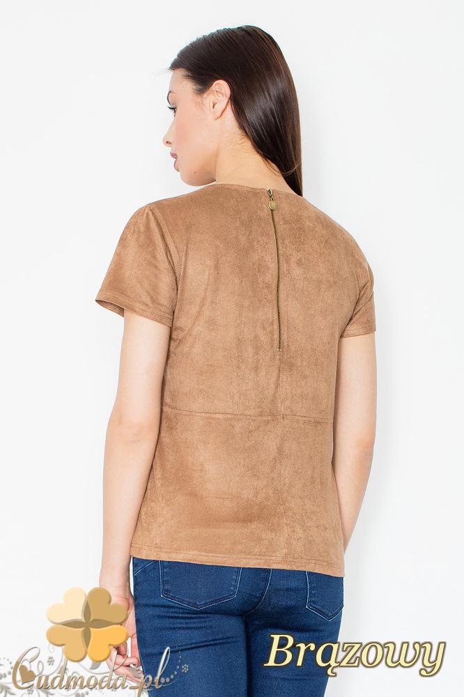 CM2367 Stylowa zamszowa bluzka z krótkim rękawem - brązowa