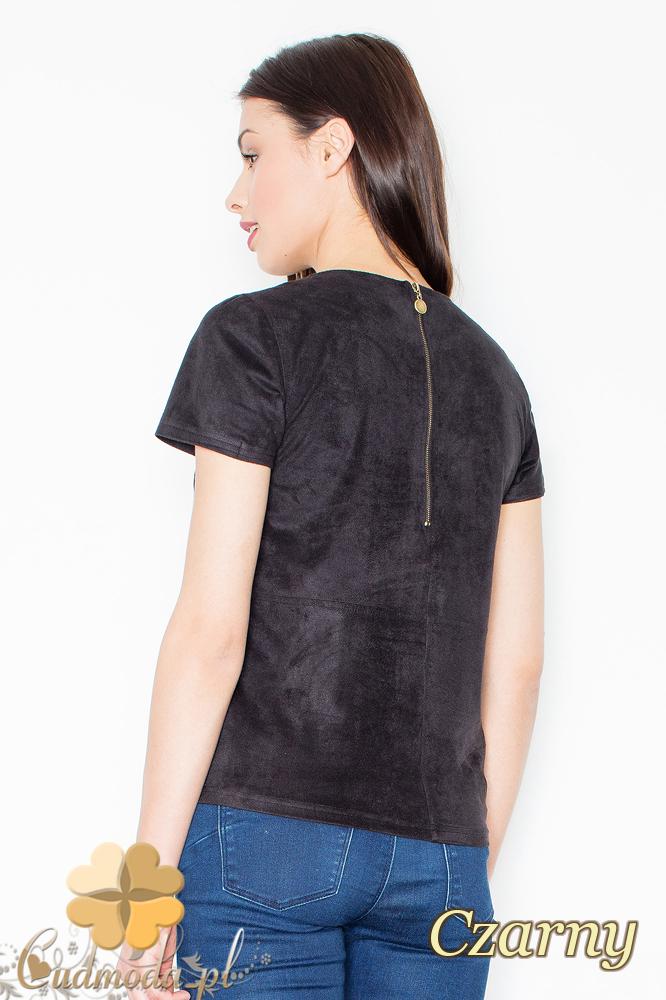 CM2367 Stylowa zamszowa bluzka z krótkim rękawem - czarna