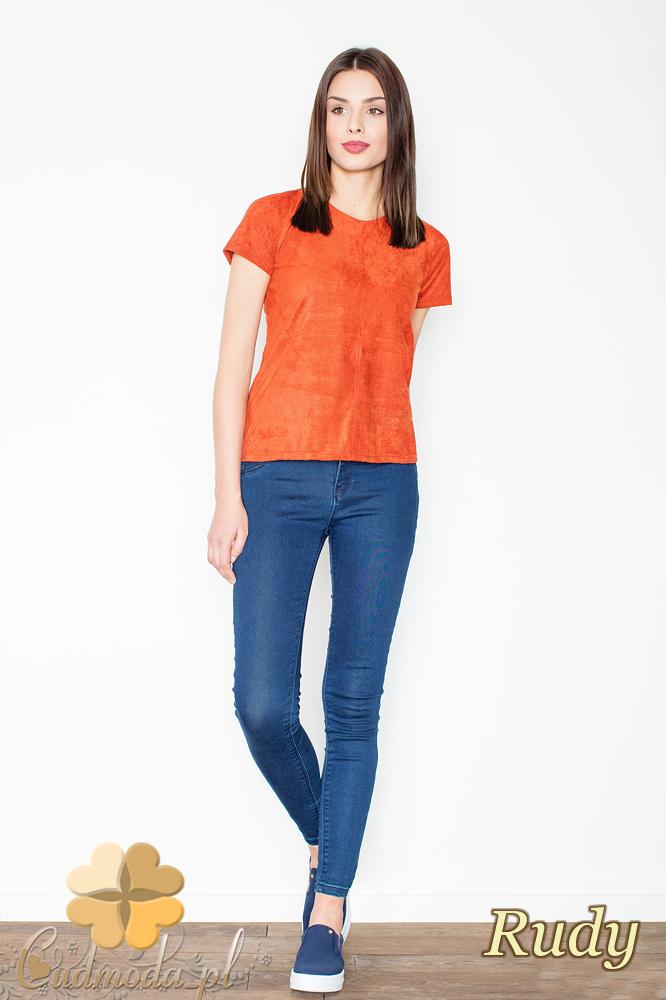 CM2367 Stylowa zamszowa bluzka z krótkim rękawem - ruda