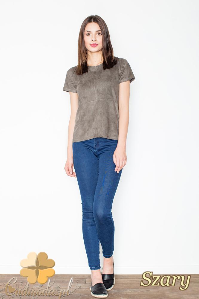 CM2367 Stylowa zamszowa bluzka z krótkim rękawem - zielona