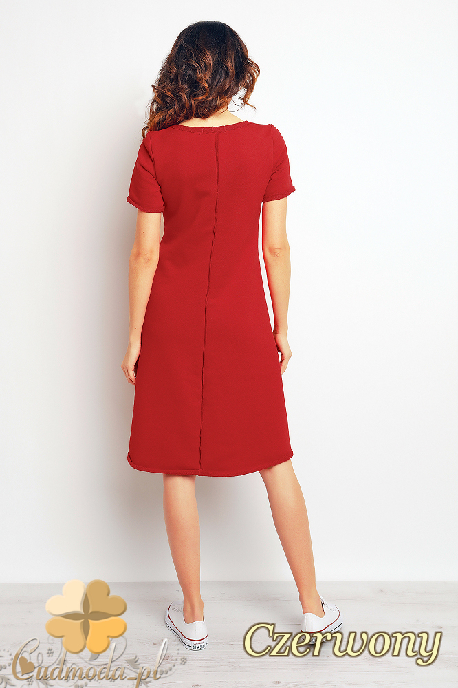 CM2369 Nowoczesna sukienka mini kangurka - czerwona