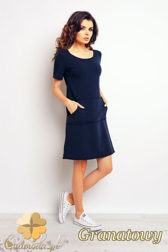 CM2369 Nowoczesna sukienka mini kangurka - granatowa