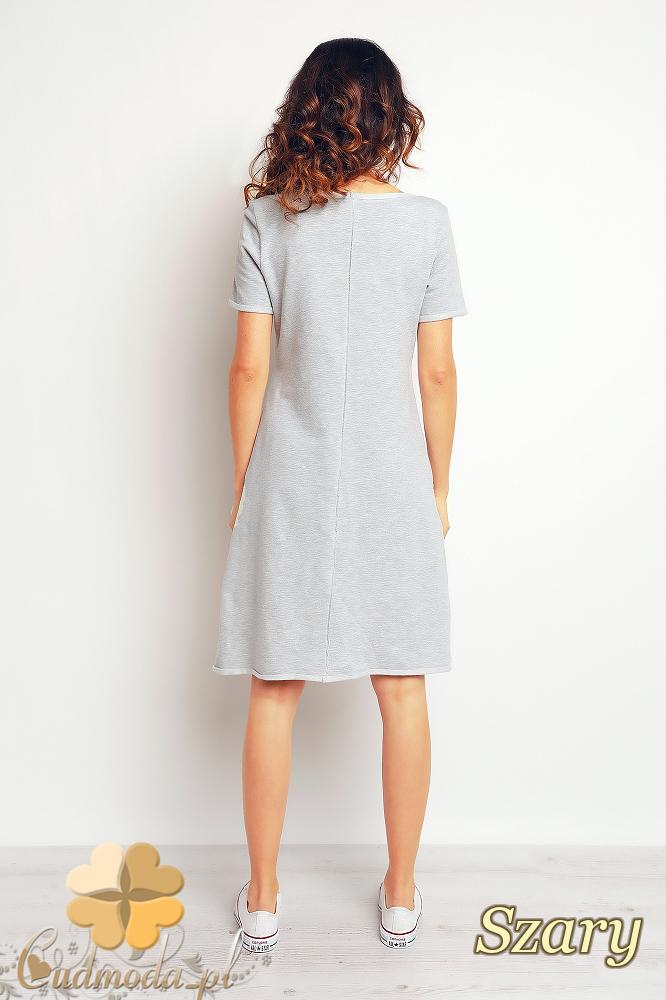 CM2369 Nowoczesna sukienka mini kangurka - szara