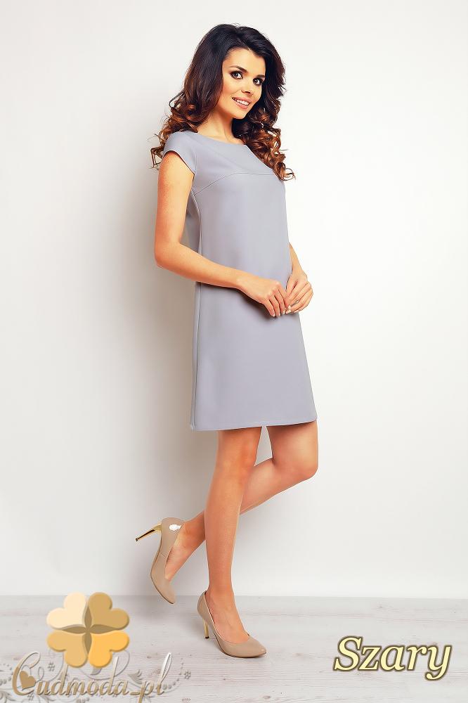 CM2370 Gładka sukienka trapezowa mini - szara