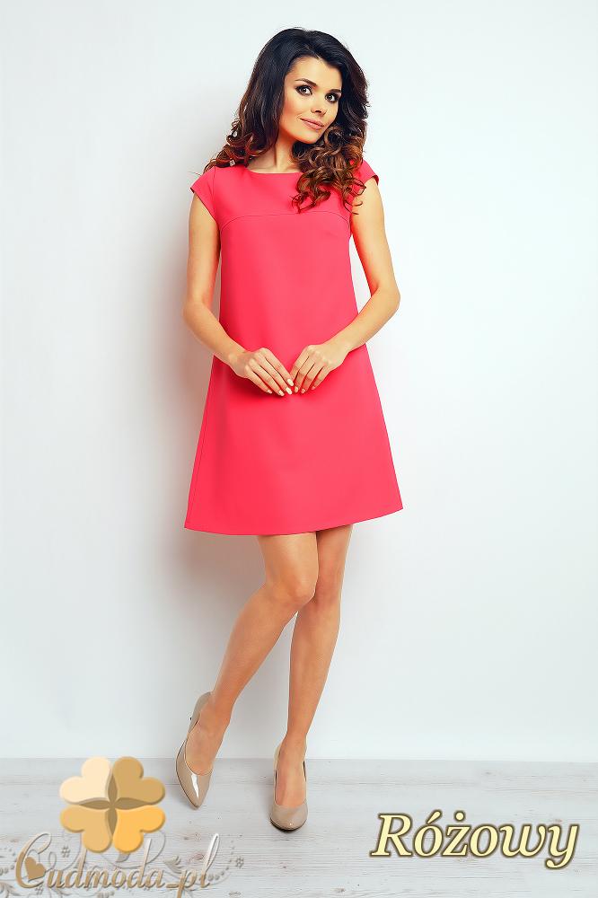 CM2370 Gładka sukienka trapezowa mini - różowa