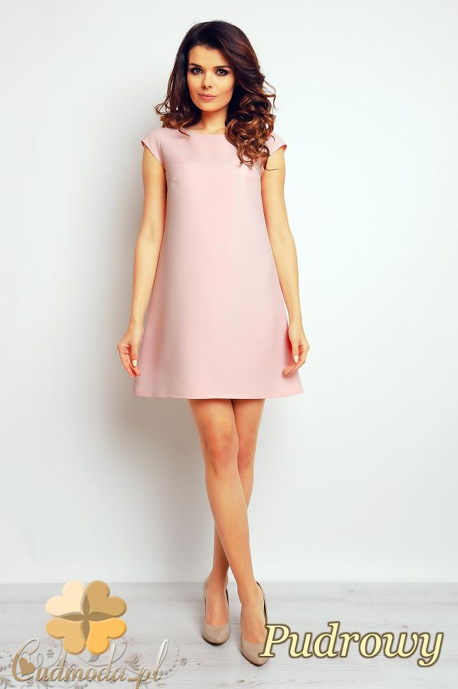 CM2370 Gładka sukienka trapezowa mini - pudrowa