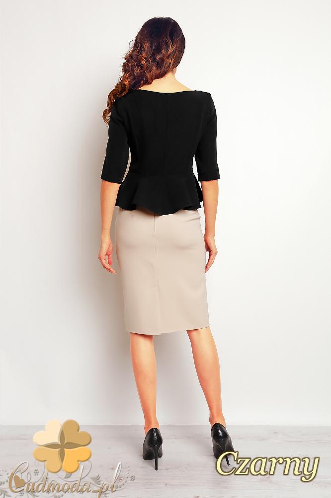 CM2371 Stylowa bluzka baskinka z rękawem 1/2 - czarna