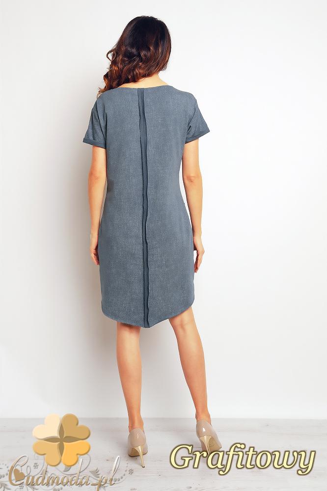 CM2372 Asymetryczna sukienka mini z kieszeniami - grafitowa