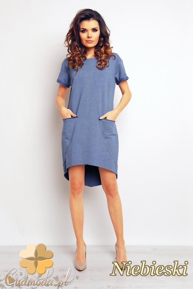 CM2372 Asymetryczna sukienka mini z kieszeniami - niebieska