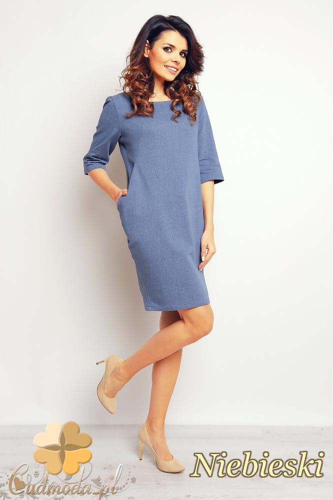 CM2374 Ołówkowa sukienka mini z rękawem 3/4 - niebieska