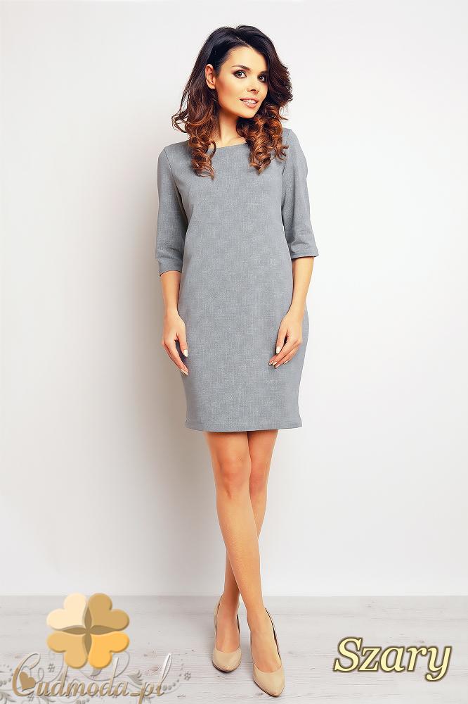 CM2374 Ołówkowa sukienka mini z rękawem 3/4 - szara