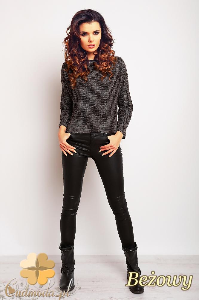 CM2375 Prosta klasyczna modna bluzka damska - beżowa