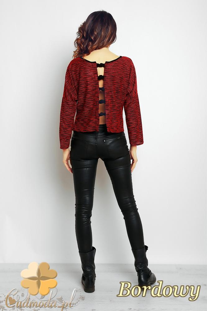 CM2375 Prosta klasyczna modna bluzka damska - bordowa
