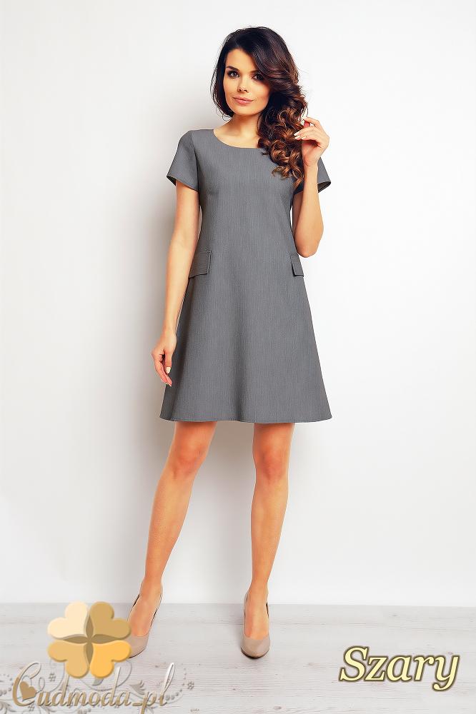 CM2377 Trapezowa sukienka biurowa do pracy - szara