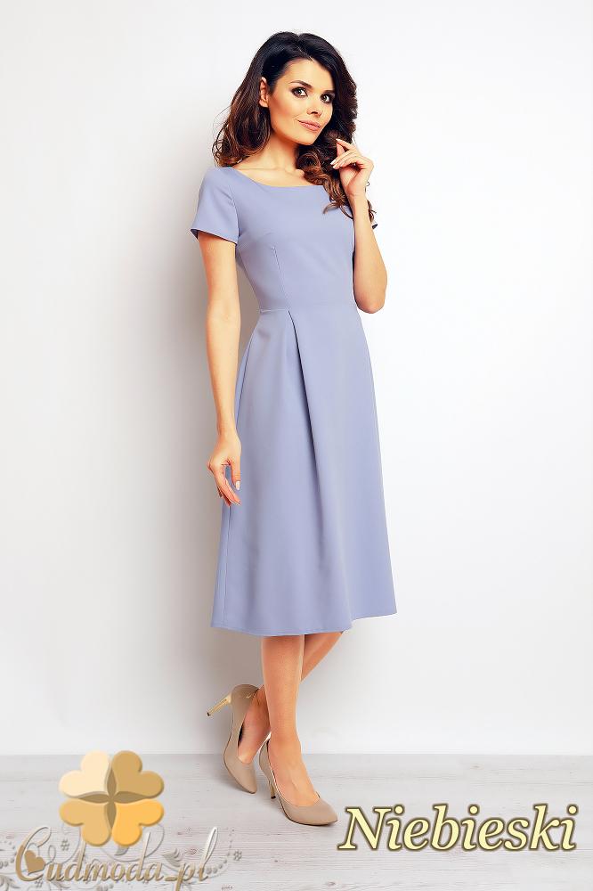 CM2380 Stylowa sukienka wieczorowa w kontrafałdy - niebieska