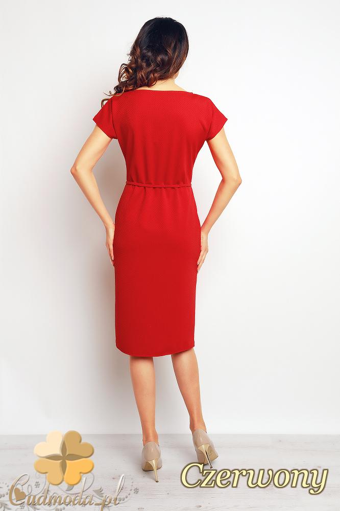 CM2381 Przewiązana sukienka z kieszeniami - czerwona