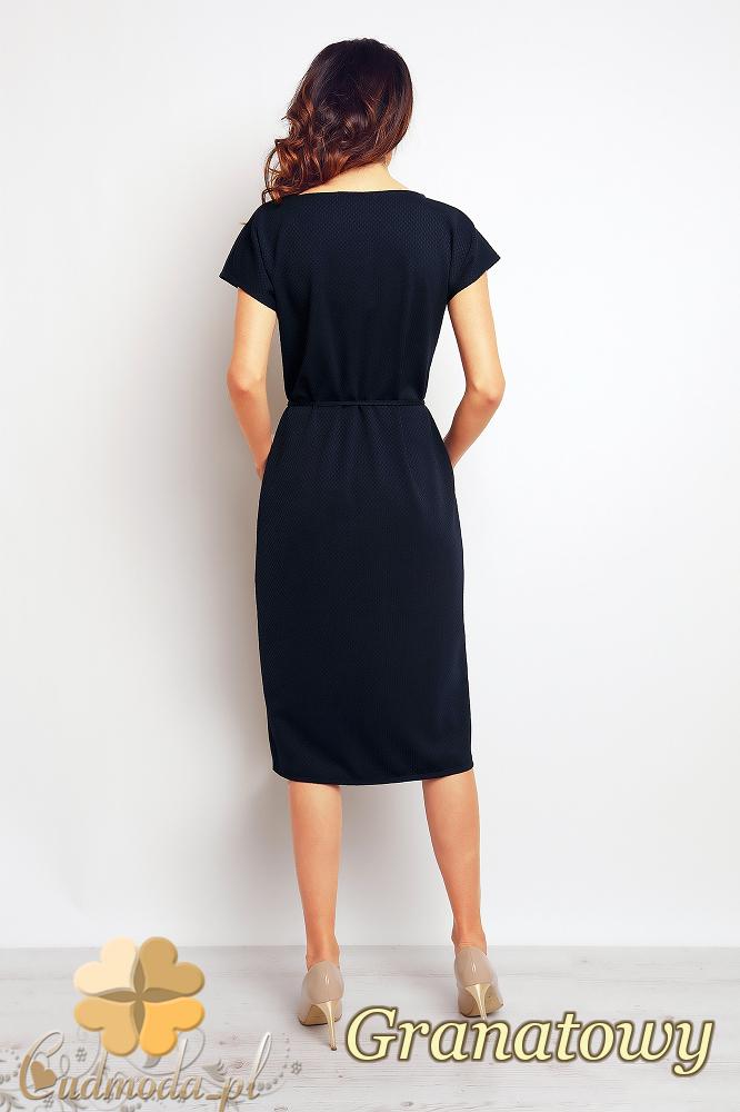 CM2381 Przewiązana sukienka z kieszeniami - granatowa