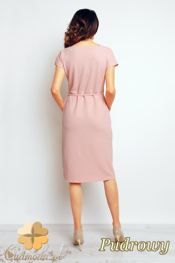 CM2381 Przewiązana sukienka z kieszeniami - pudrowa