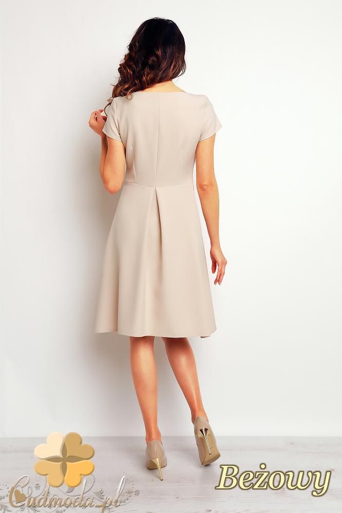 CM2382 Trapezowa stylowa sukienka midi - beżowa
