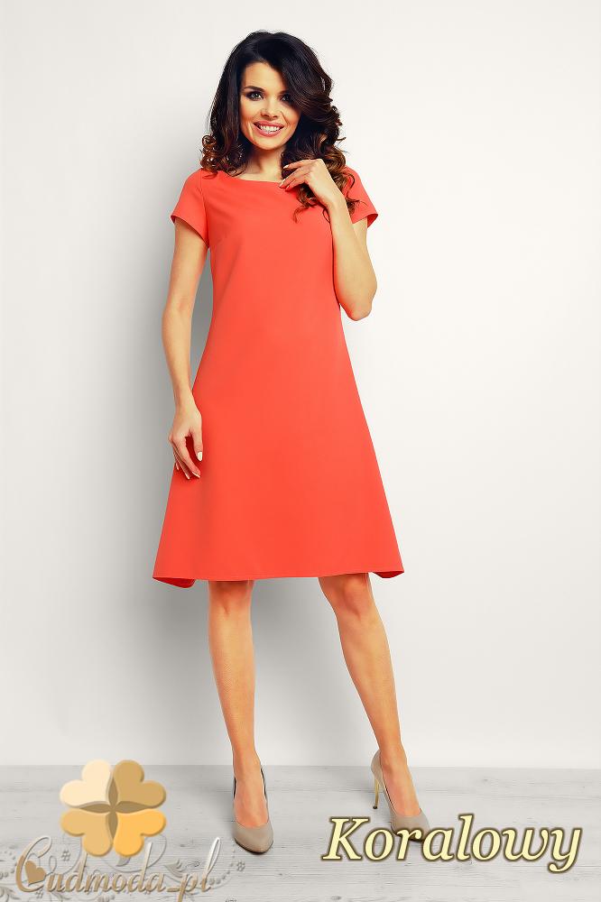 CM2382 Trapezowa stylowa sukienka midi - koralowa