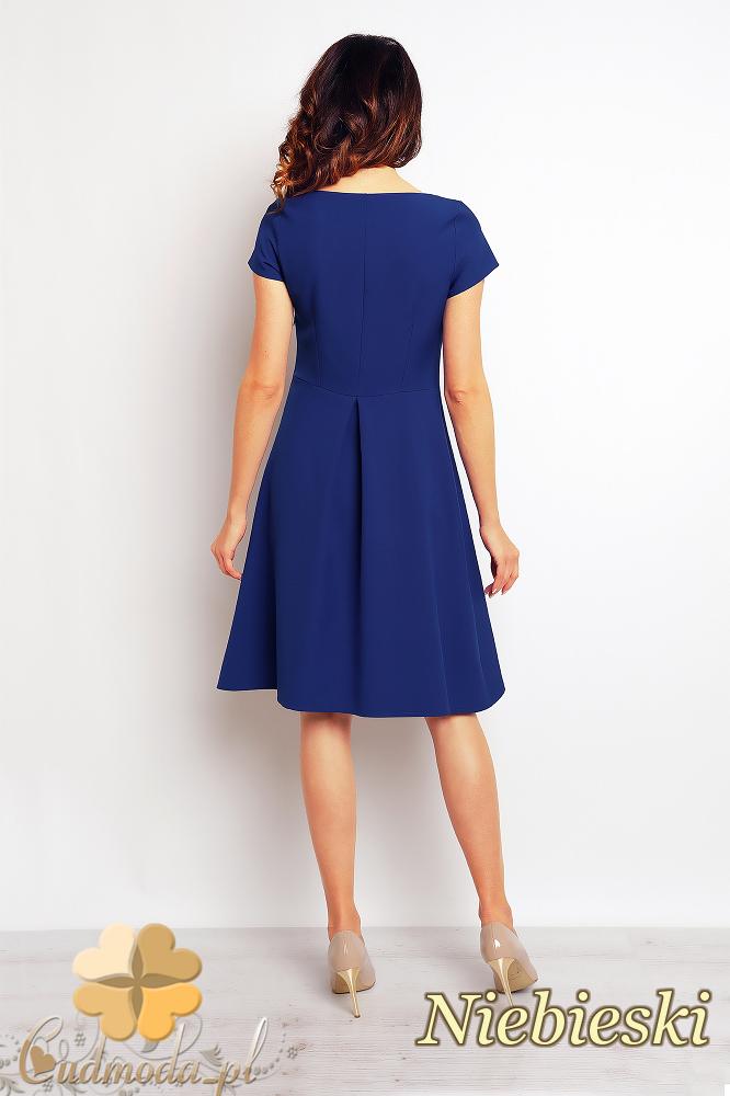 CM2382 Trapezowa stylowa sukienka midi - niebieska