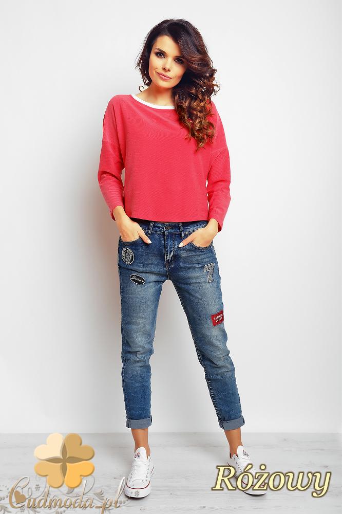 CM2383 Stylowa bluzka z kokardą na plecach - różowa