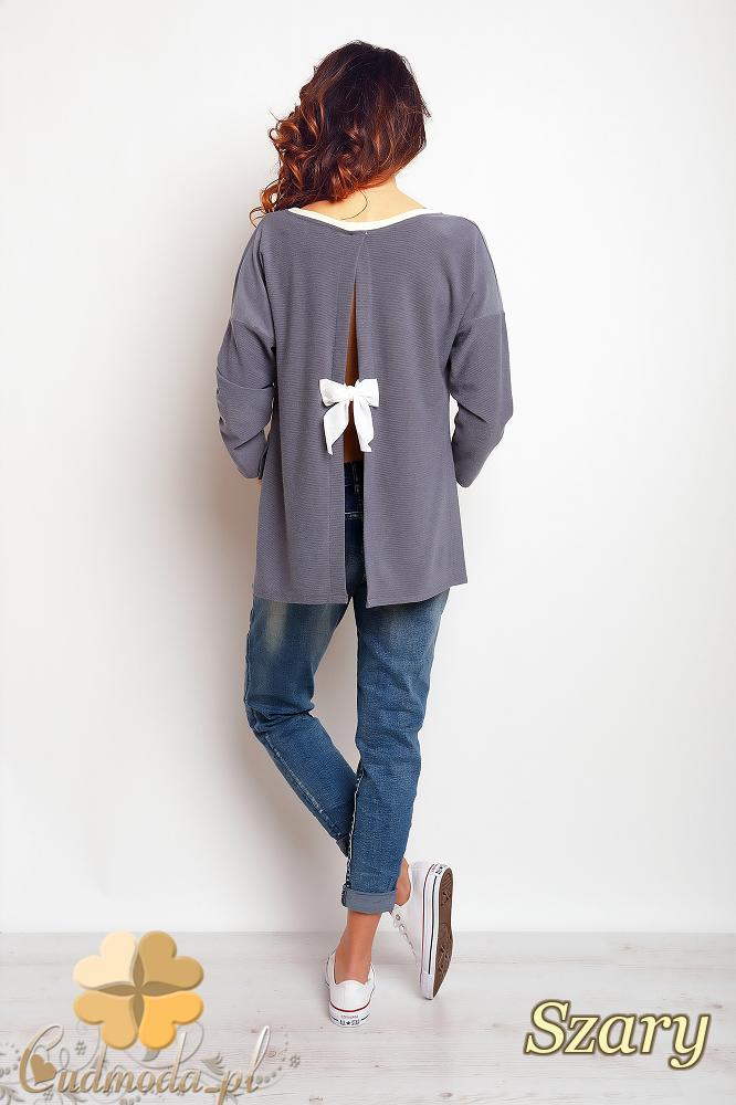 CM2383 Stylowa bluzka z kokardą na plecach - szara