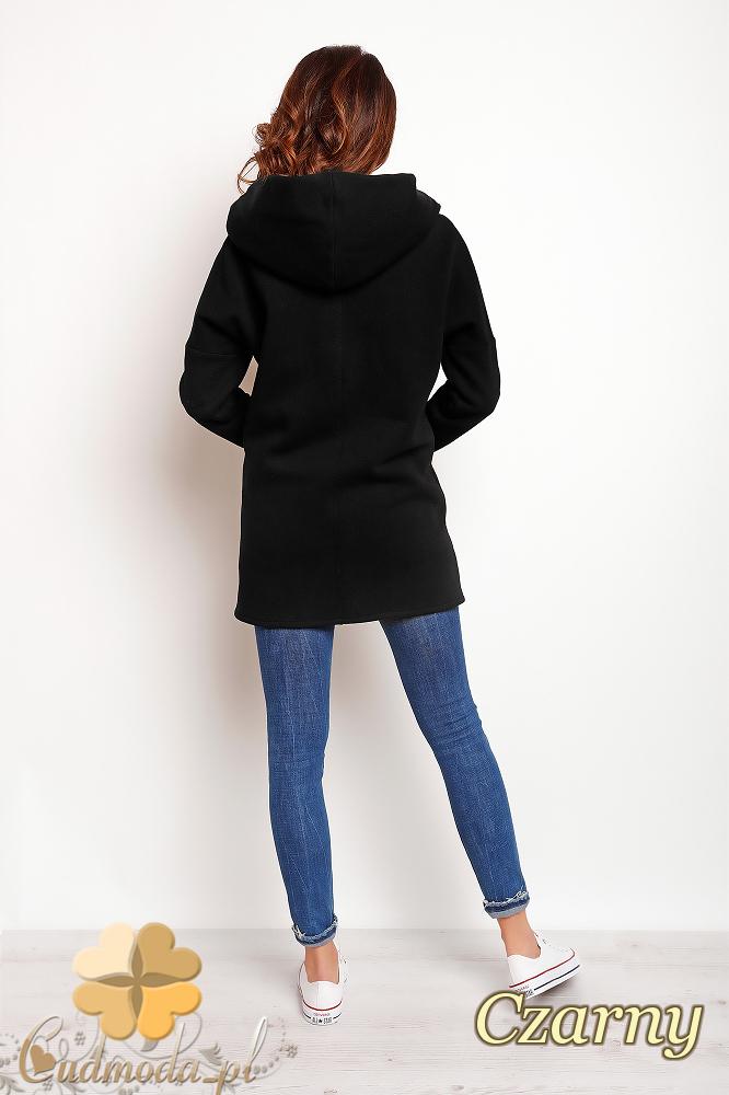 CM2384 Zasuwany płaszcz z kapturem - czarny