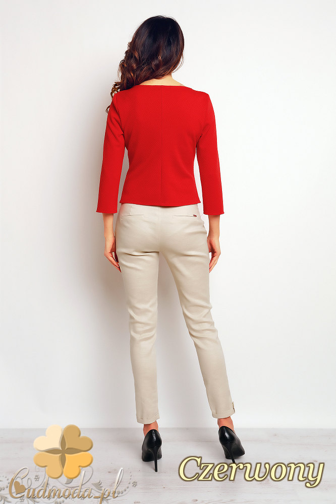 CM2385 Biurowa bluzka z ozdobnym przeszyciem - czerwona